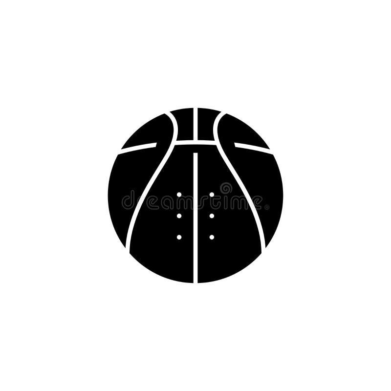 Concetto nero dell'icona di pallacanestro Simbolo piano di vettore di pallacanestro, segno, illustrazione royalty illustrazione gratis