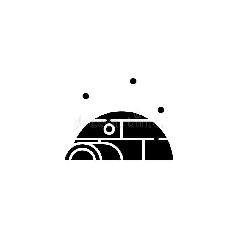 Concetto nero dell'icona dell'iglù Simbolo piano di vettore dell'iglù, segno, illustrazione illustrazione vettoriale