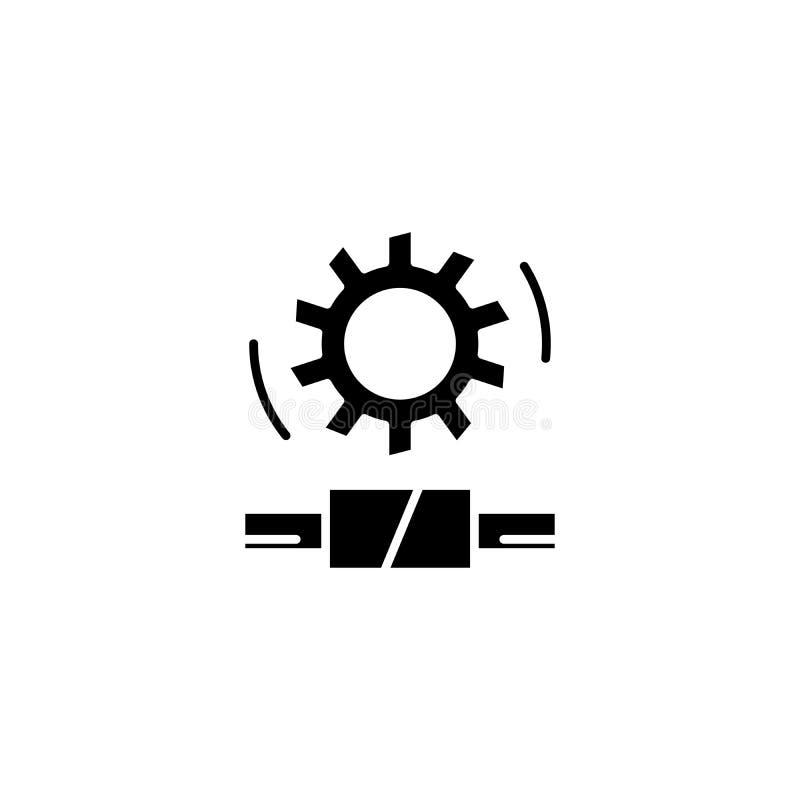 Concetto nero dell'icona dell'ingranaggio a vite Simbolo piano di vettore dell'ingranaggio a vite, segno, illustrazione illustrazione di stock