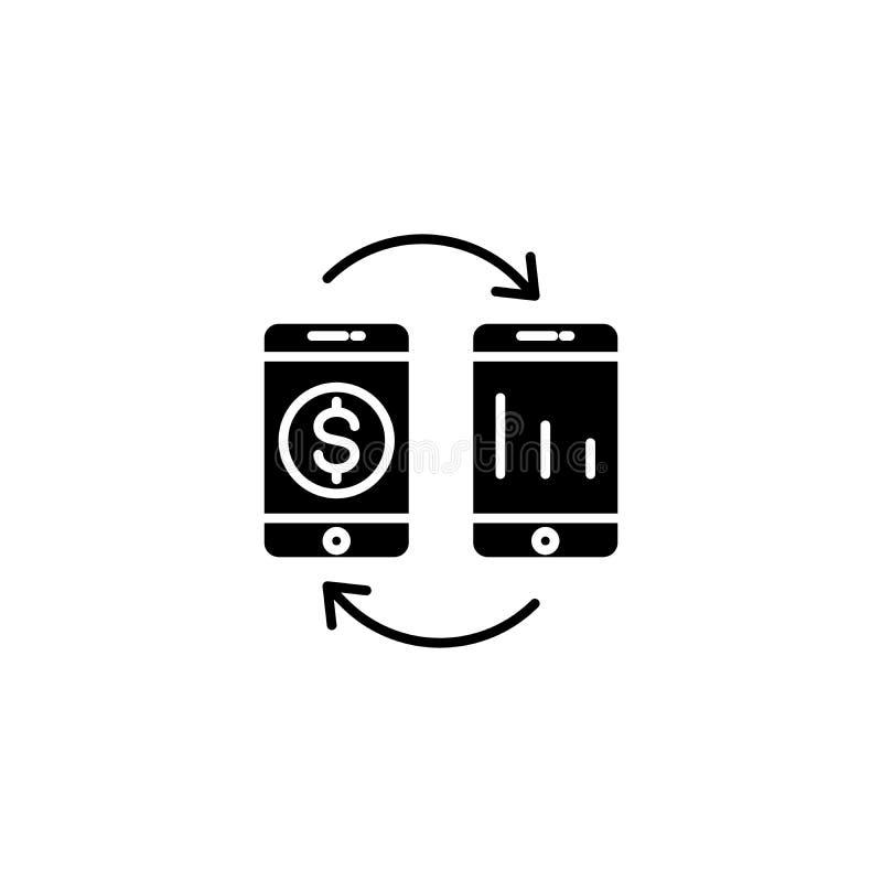 Concetto nero reinvestito dell'icona dei guadagni Simbolo piano reinvestito di vettore dei guadagni, segno, illustrazione royalty illustrazione gratis