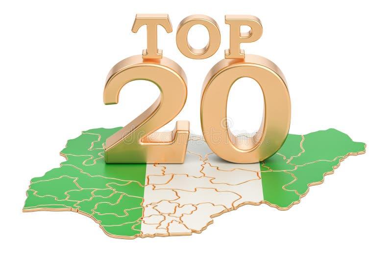 Concetto nigeriano del principale 20, rappresentazione 3D illustrazione di stock