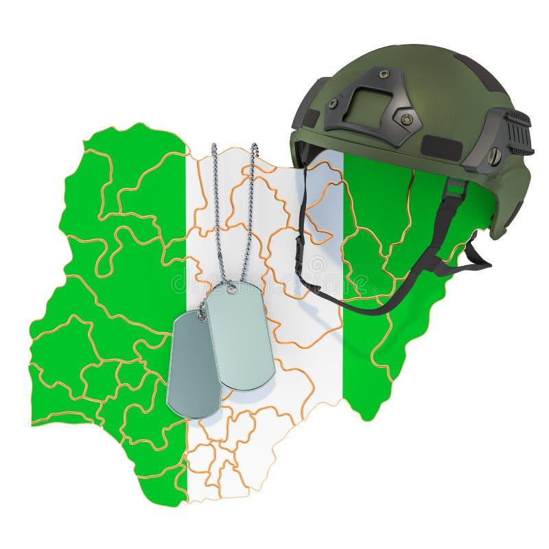 Concetto nigeriano della forza militare, dell'esercito o di guerra rappresentazione 3d illustrazione di stock