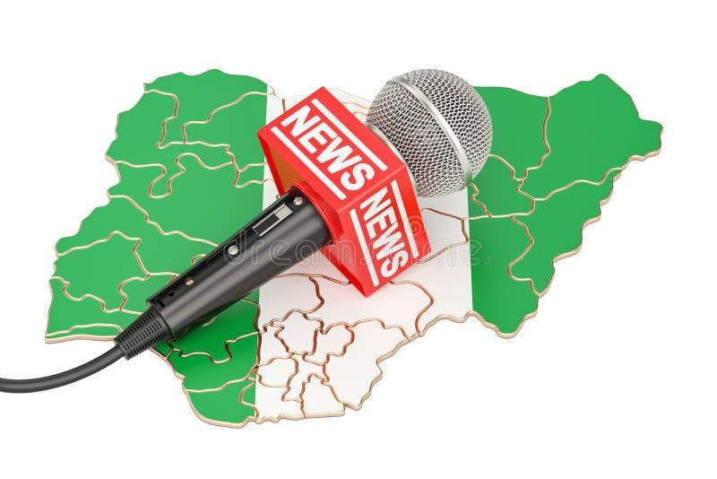 Concetto nigeriano di notizie, notizie del microfono sulla mappa della Spagna 3D r illustrazione vettoriale