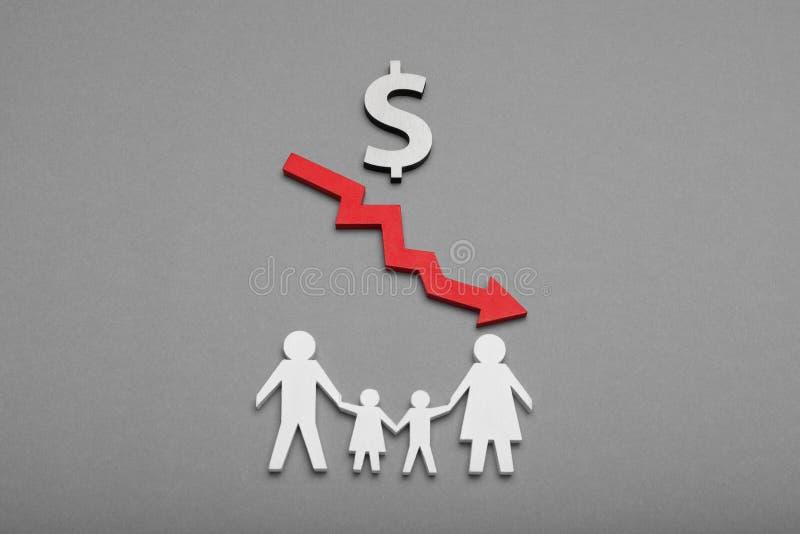 Concetto 'nucleo familiare' difficile, disperazione, impotente Reddito basso immagini stock libere da diritti