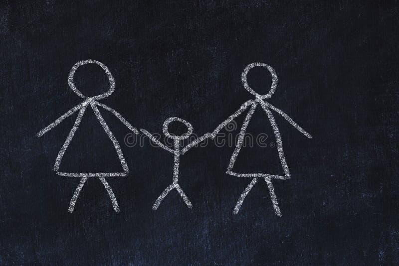 Concetto 'nucleo familiare' omosessuale Schizzo del gesso sul bordo nero immagine stock libera da diritti