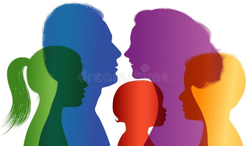 Concetto 'nucleo familiare' Siluetta colorata Profili con la mamma - papà - ragazzino - ragazza Esposizione multipla Vettore illustrazione vettoriale