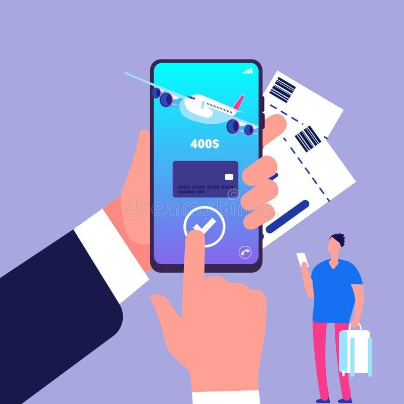 Concetto online del biglietto Biglietti d'acquisto con lo smartphone Illustrazione online di vettore di pagamento illustrazione vettoriale
