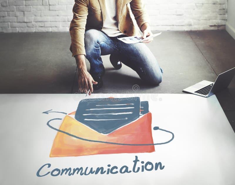 Concetto online del collegamento di comunicazione del email immagini stock