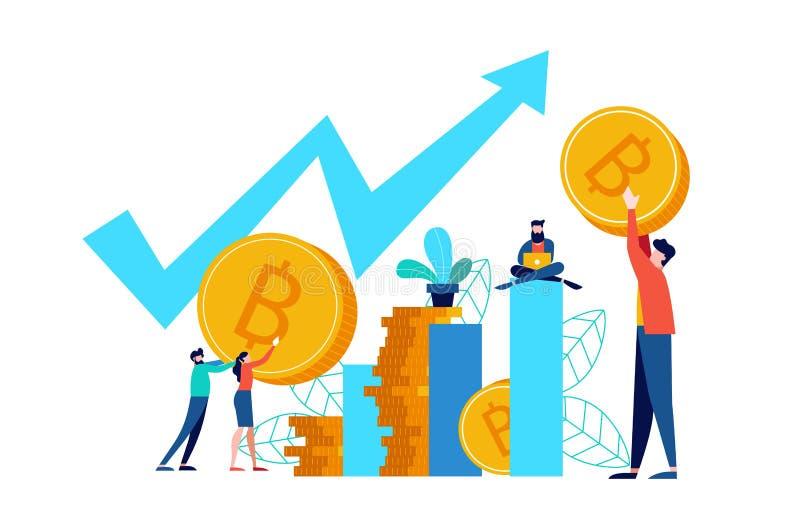 Concetto online del mercato azionario di Bitcoin per l'affare royalty illustrazione gratis