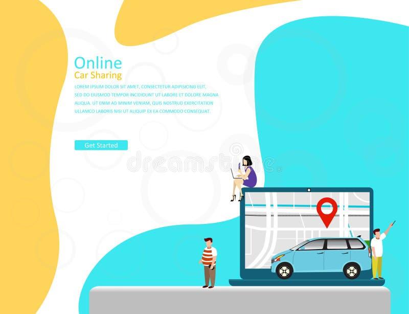 Concetto online dell'illustrazione di vettore di car sharing, trasporto mobile della città con personaggio dei cartoni animati illustrazione vettoriale