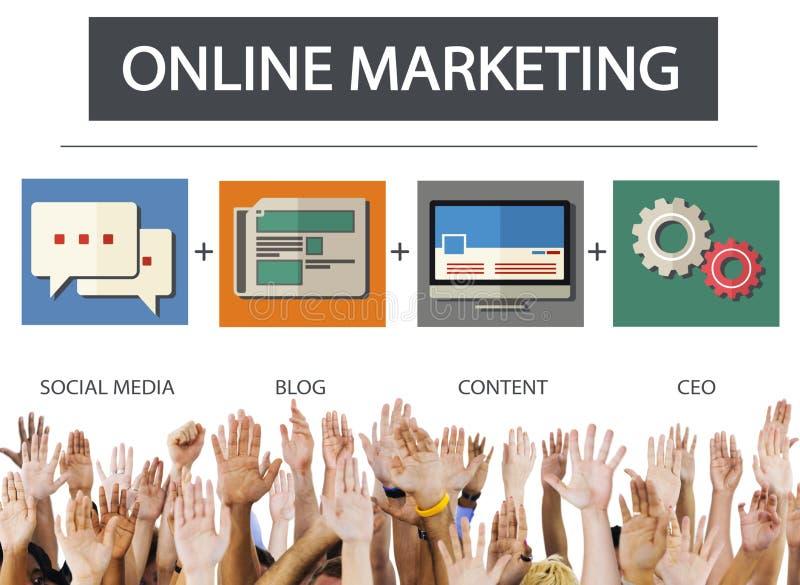 Concetto online dell'obiettivo di strategia del contenuto di affari di vendita fotografia stock libera da diritti