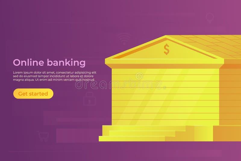 Concetto online della banca Costruzione della Banca dell'oro Bandiera di Web Illustrazione di vettore royalty illustrazione gratis