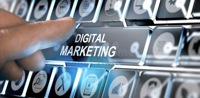 Concetto online della campagna di marketing di Digital illustrazione di stock