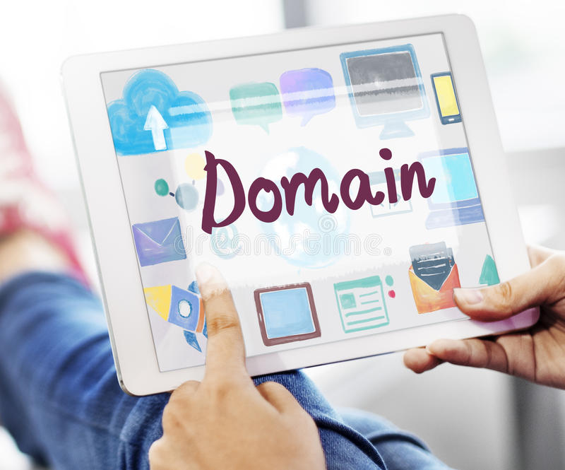 Concetto online della connessione di rete di Internet di Domain Name fotografia stock