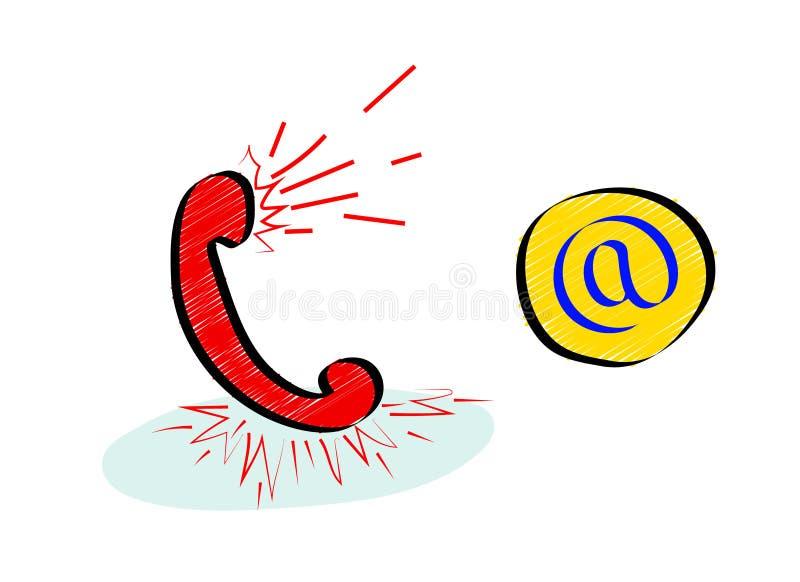 Concetto online delle icone del servizio clienti con il segno del email e del microtelefono royalty illustrazione gratis