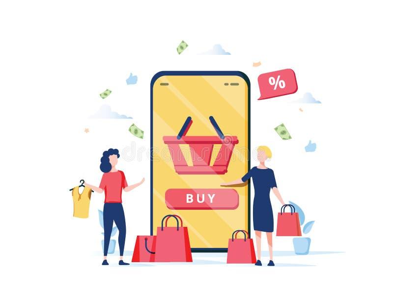 Concetto online di acquisto con i caratteri Deposito mobile di commercio elettronico illustrazione di stock