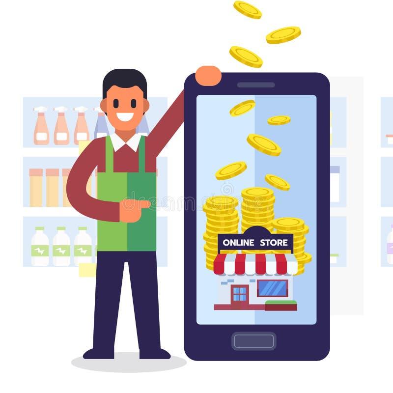 Concetto online di acquisto Guadagni i servizi dei soldi con lo smartphone royalty illustrazione gratis