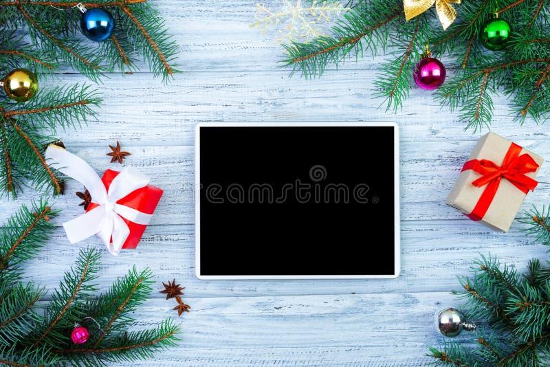 Concetto online di acquisto di Natale fotografie stock