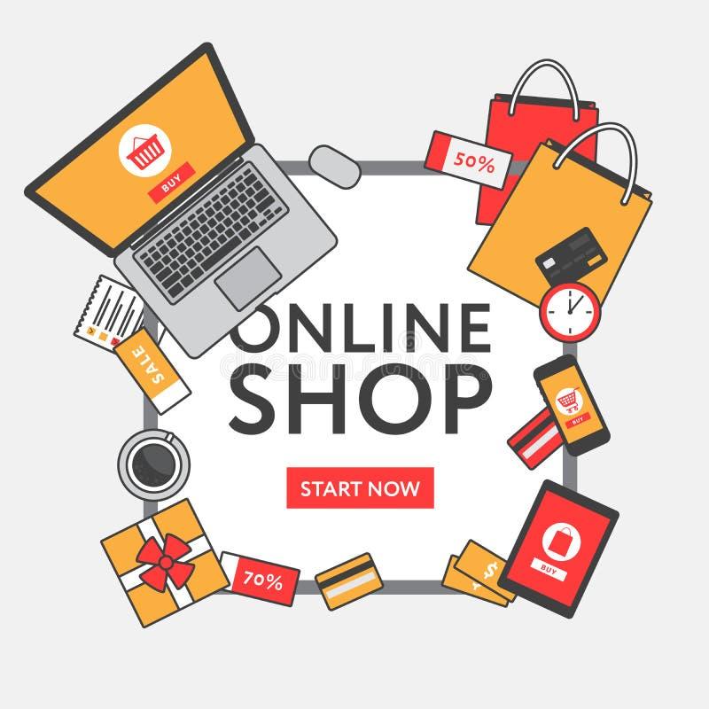 Concetto online di acquisto Oggetti ed insegna online del deposito tabella illustrazione di stock