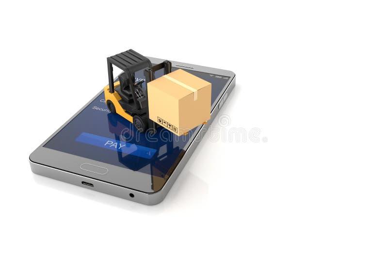 Concetto online di acquisto, Smartphone con il carrello elevatore illustrazione 3D royalty illustrazione gratis