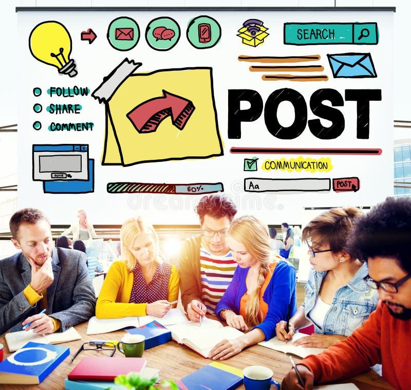 Concetto online di comunicazione della parte sociale di media del blog del post immagine stock