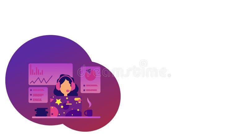 Concetto online di conferenza di vettore nello stile piano Consultazione online di Webinar Prestazione online Preparandosi su Int illustrazione di stock