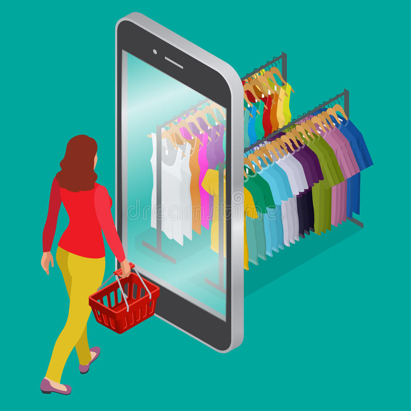 Concetto online di consumismo e di acquisto Web piano 3d di drogheria di acquisto del deposito online mobile di commercio elettro royalty illustrazione gratis