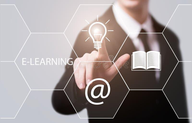 Concetto online di corsi di Webinar di tecnologia di Internet di istruzione di e-learning fotografia stock
