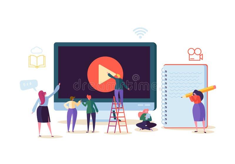 Concetto online di istruzione E-learning con la gente piana che guarda scorrendo video corso sul computer Università di graduazio illustrazione vettoriale