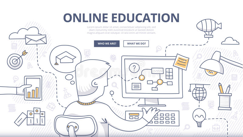 Concetto online di scarabocchio di istruzione illustrazione vettoriale