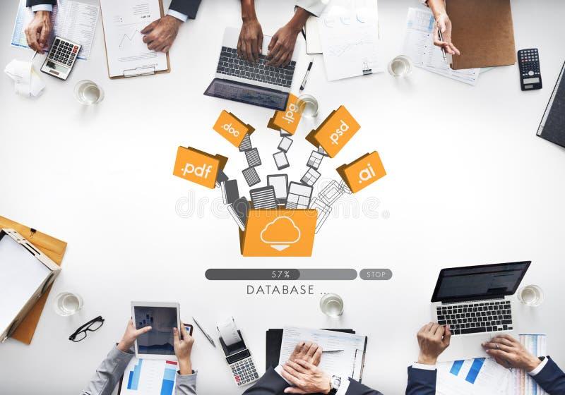 Concetto online di stoccaggio della base di dati degli archivi di backup dei dati fotografia stock