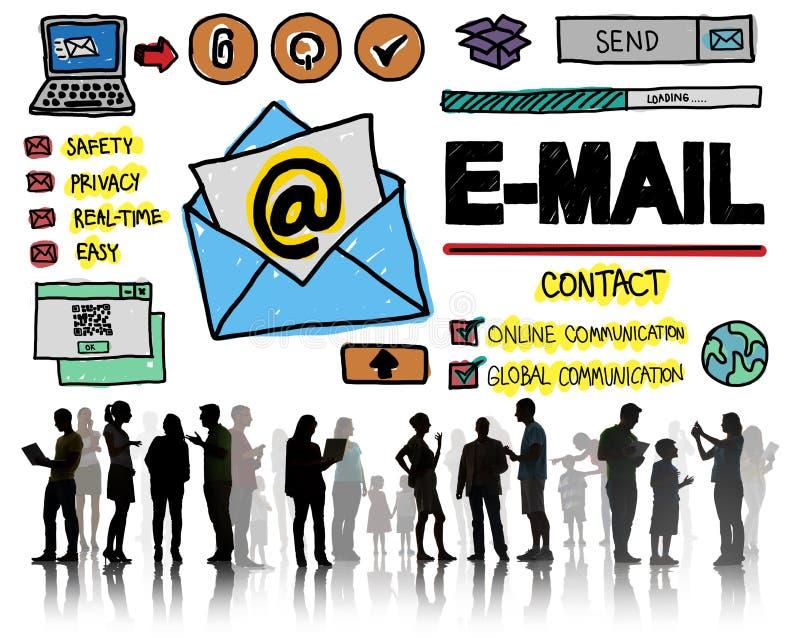Concetto online di Technologgy di messaggio della corrispondenza del email immagini stock