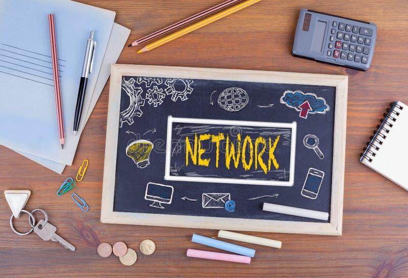 Concetto online di tecnologia di Internet della connessione di rete Chalkboar immagini stock libere da diritti