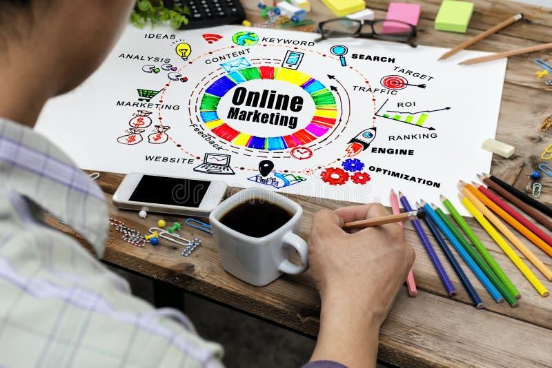 Concetto online di visione di strategia della rete di Digital di vendita E fotografia stock libera da diritti