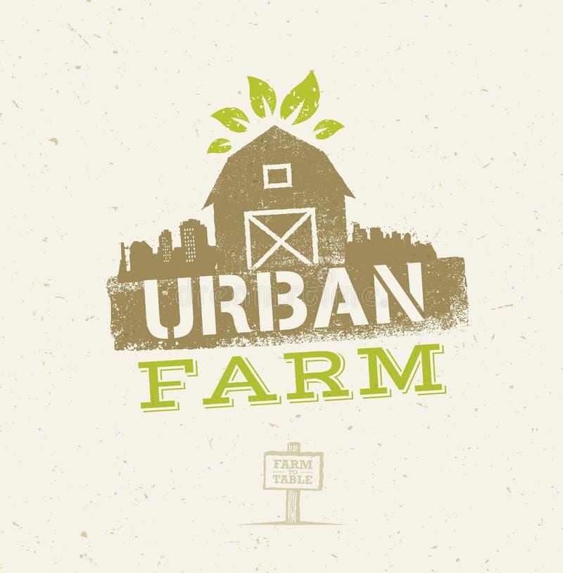 Concetto organico di Eco dell'azienda agricola urbana della città Elemento sano di progettazione di vettore dell'alimento sul fon illustrazione vettoriale
