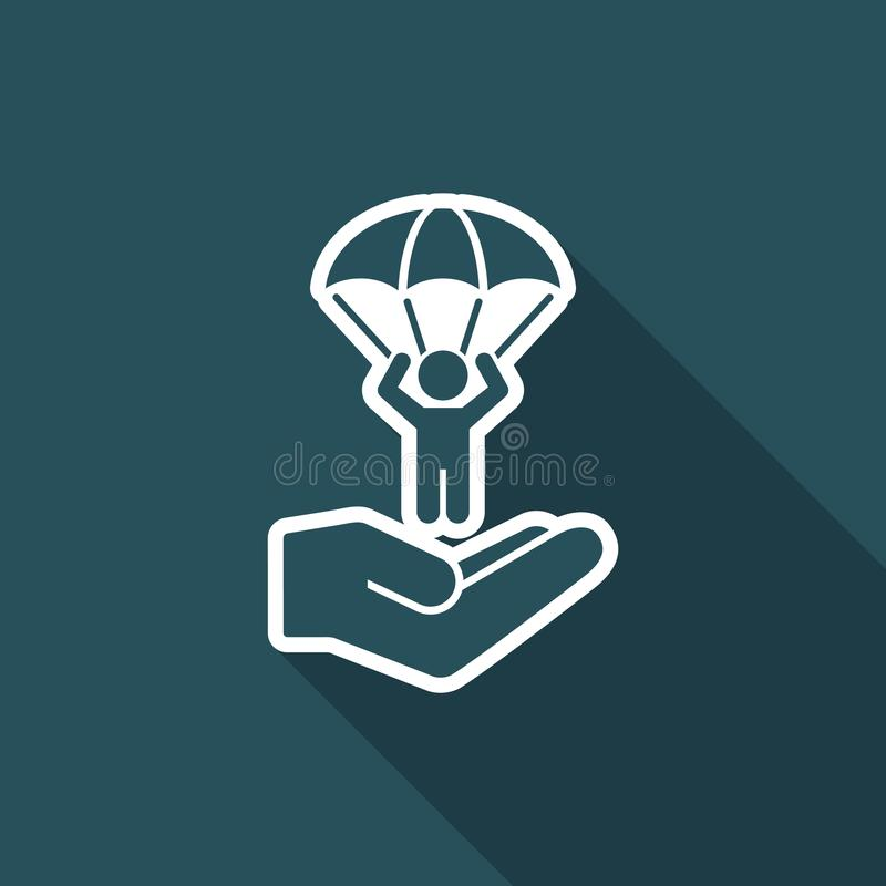 Concetto paracadutante - icona minima di vettore illustrazione vettoriale