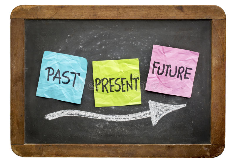 Concetto passato e presente e futuro fotografia stock