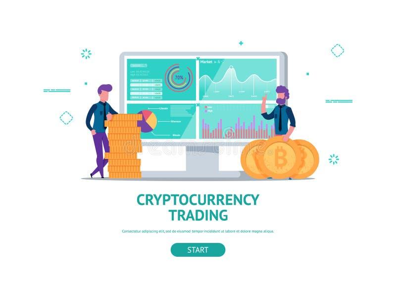 Concetto per il commercio di cryptocurrency illustrazione di stock