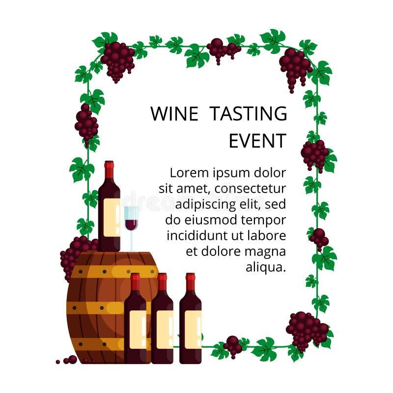 Concetto per la carta dell'invito, evento del degustate del vino di pubblicità, manifesto dell'assaggio di vino Illustrazione con illustrazione vettoriale
