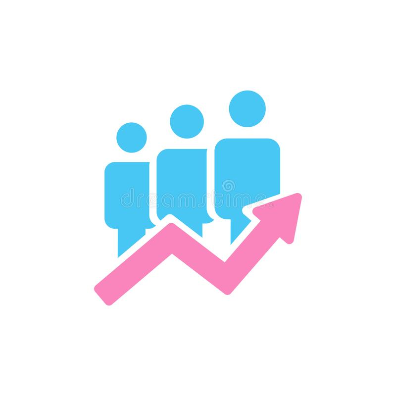 concetto personale di sviluppo, idea crescente di affari, successo di lavoro di squadra Illustrazione di vettore isolata su prior illustrazione di stock