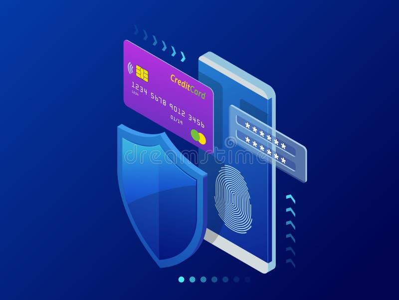 Concetto personale isometrico dell'insegna di web di protezione dei dati Sicurezza cyber e segretezza Crittografia di traffico, V royalty illustrazione gratis
