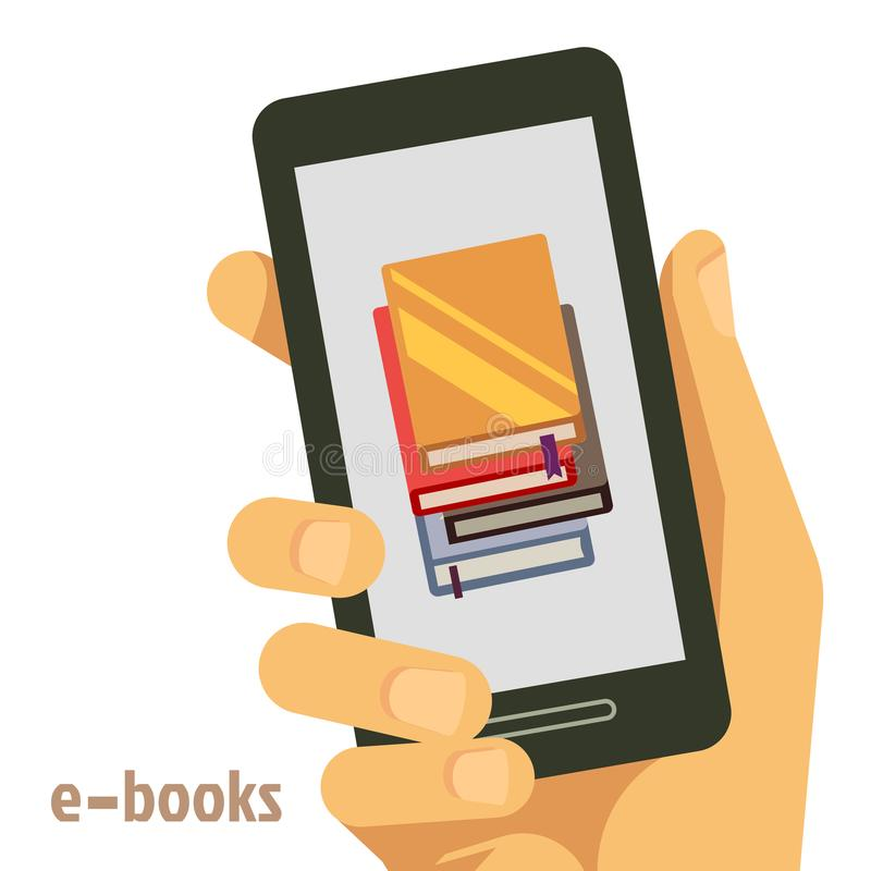 Concetto piano dei libri elettronici con lo smartphone a disposizione illustrazione vettoriale