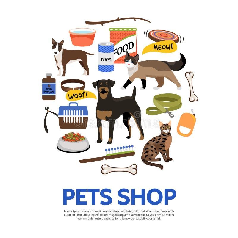 Concetto piano del negozio di animali illustrazione vettoriale