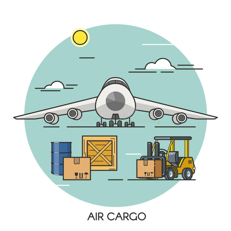 Concetto piano del profilo dell'aeroplano del trasporto Logistica dei trasporti globale dell'aereo da carico Trasporto da aria illustrazione vettoriale