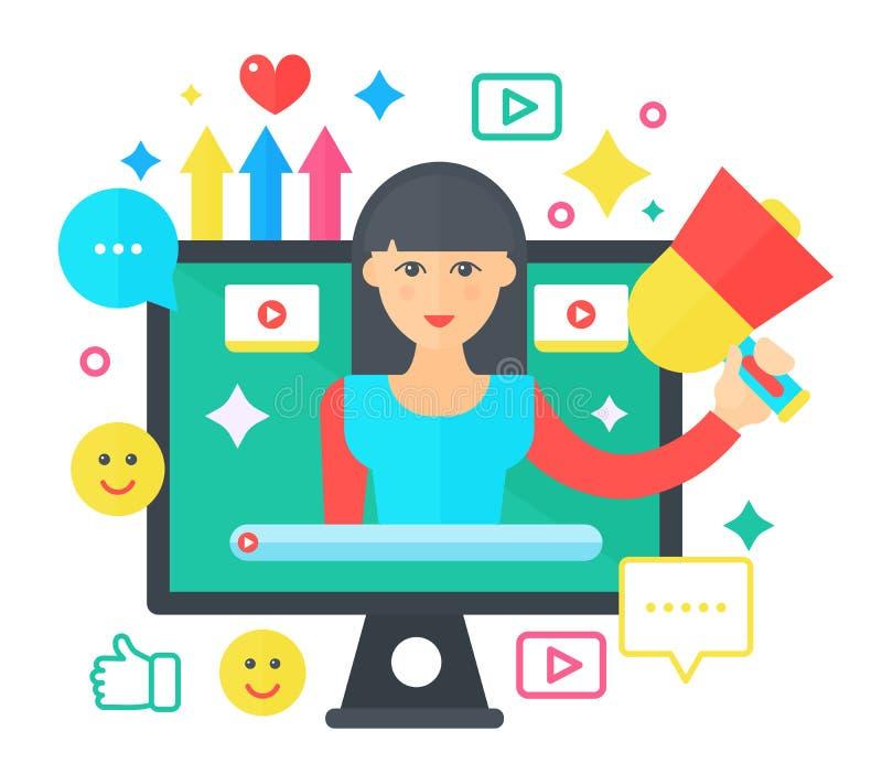 Concetto piano del video fumetto di blogger Schermo di computer con il blogger femminile della donna Radiodiffusione personale de royalty illustrazione gratis