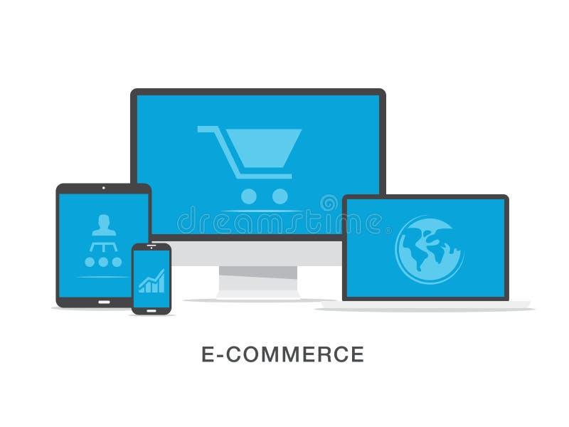 Concetto piano dell'illustrazione di affari di commercio elettronico royalty illustrazione gratis