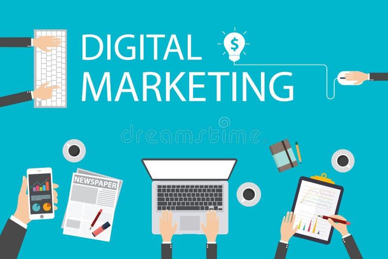 Concetto piano dell'illustrazione di progettazione per l'introduzione sul mercato digitale Concetto per l'insegna di web