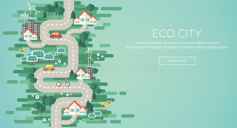Concetto piano dell'illustrazione di vettore di progettazione di ecologia illustrazione di stock