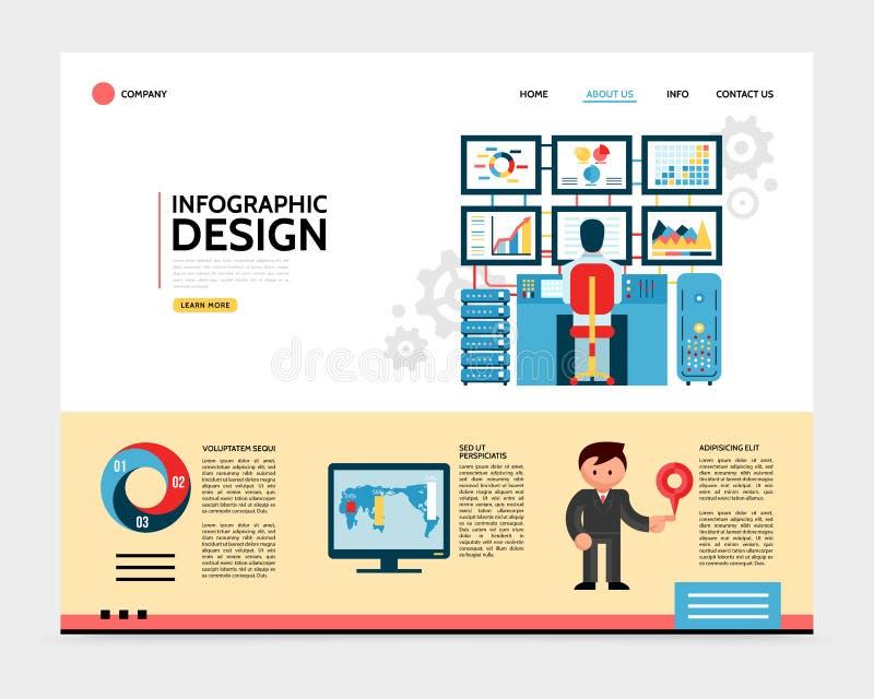 Concetto piano della pagina di atterraggio di progettazione di Infographic royalty illustrazione gratis