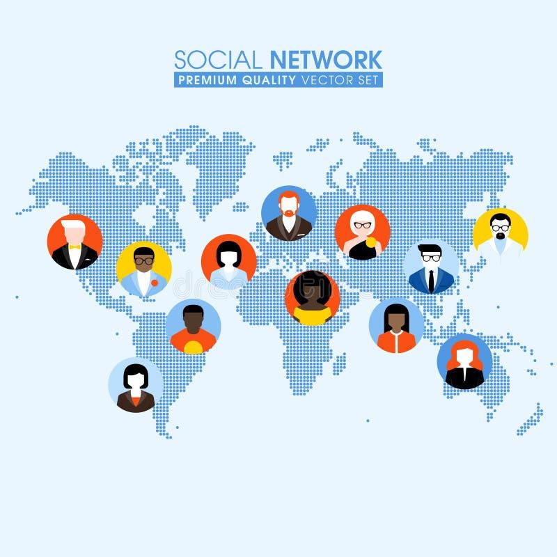 Concetto piano della rete sociale con la gente di comunicazione su una mappa illustrazione vettoriale